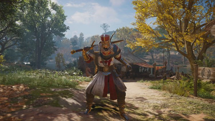 Image showing the Saint George Armor and sword in Assassin's Creed Valhalla.