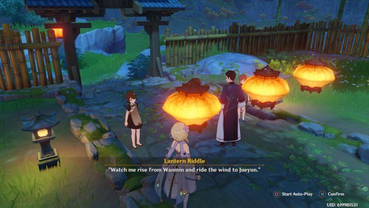 Image showing a Lantern Riddle in Genshin Impact.