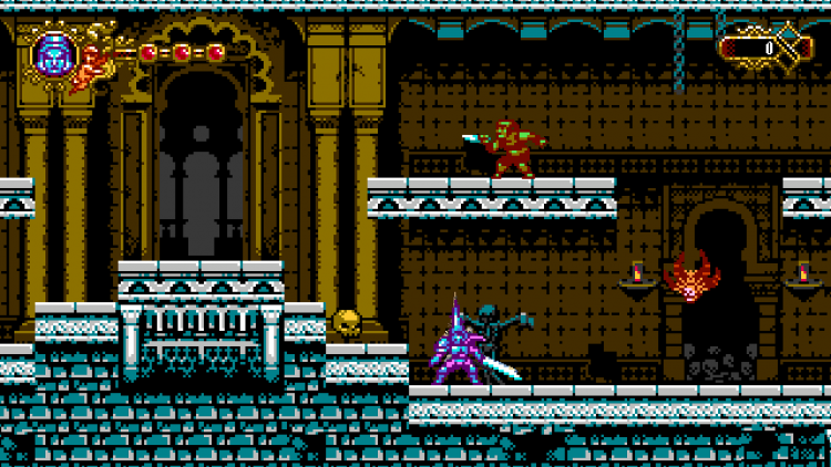 Image showing the skull location inside the castle lobby in the arcade game.