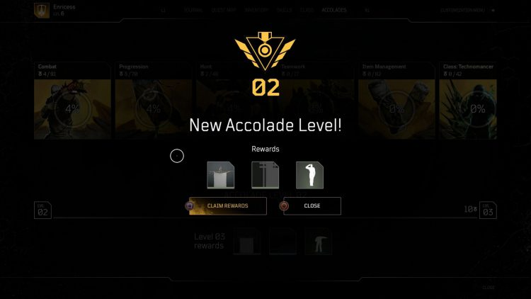 Image showing accolade rewards in Outriders.