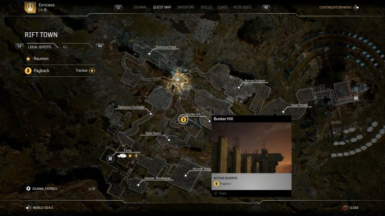 Image showing where to start the Payback side mission in Outriders.