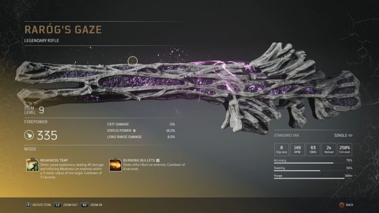 Image showing the Rarog's Gaze Legendary Rifle in Outriders.