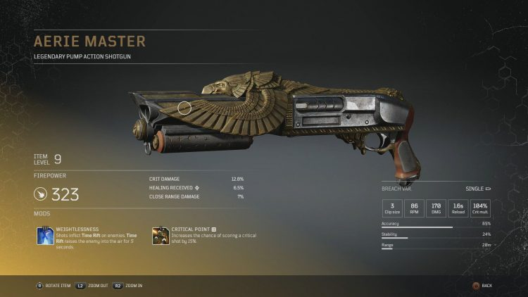 Image showing the Aerie Master Legendary Pump Action Shotgun in Outriders.