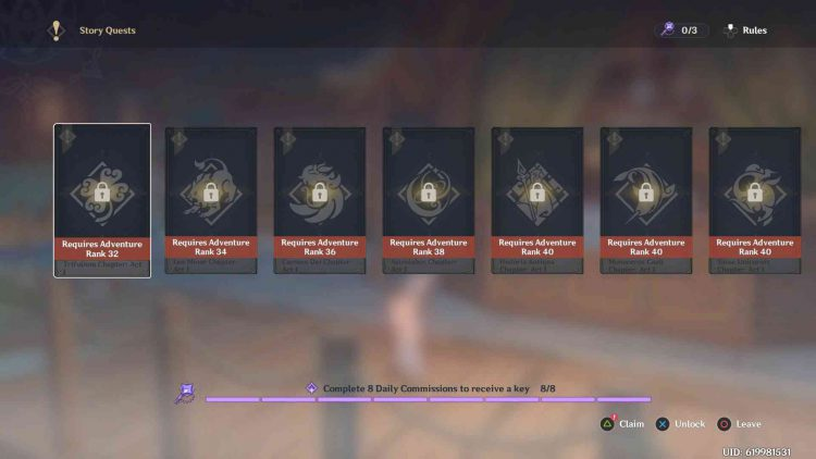 Image showing how to claim Story Keys in Genshin Impact.