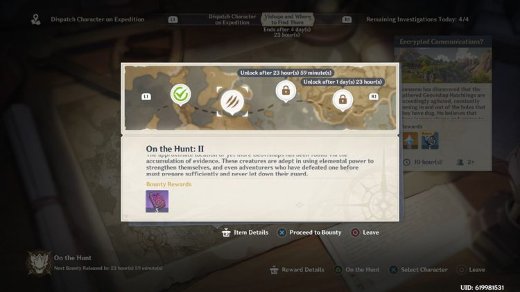 Image showing How to Start On the Hunt II Bounty in Genshin Impact.