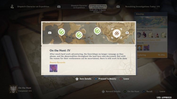 Image showing how to start On the Hunt IV Bounty in Genshin Impact.