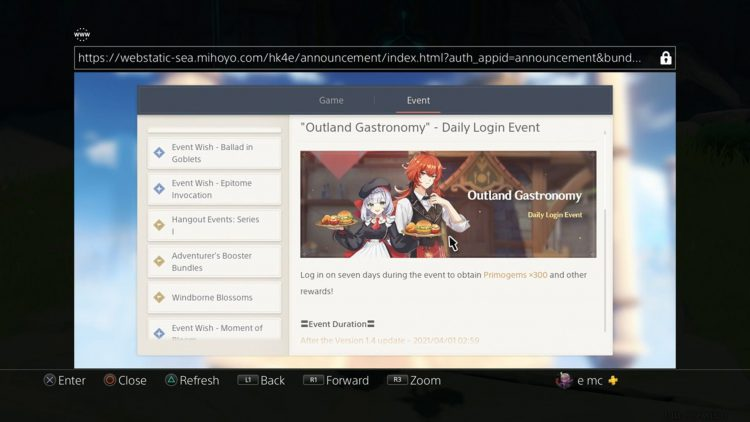 Image showing the Outland Gastronomy Daily Login Event information screen.