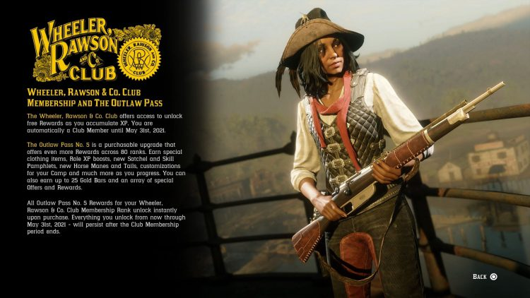 Image showing information on the Outlaw Pass 5 in Red Dead Online.