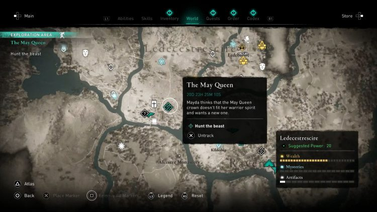 Image showing Where to Hunt the Beast in The May Queen quest.