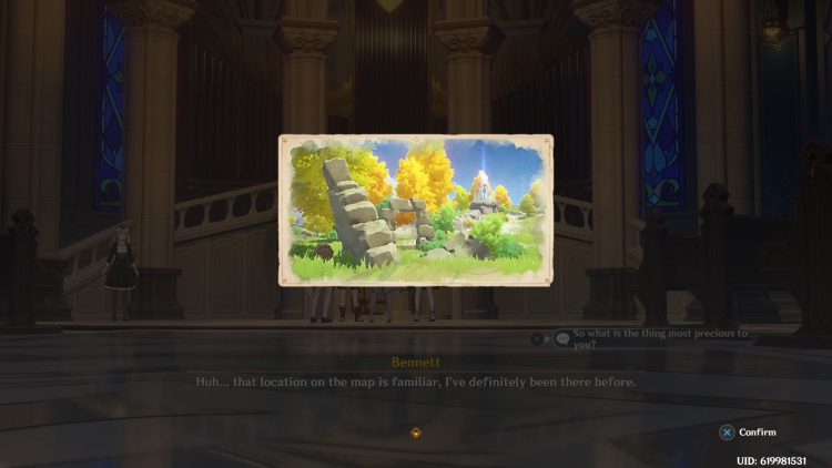 Image showing the secret map on Barbara's letter in Genshin Impact.