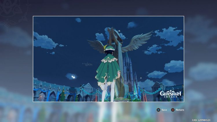 Image showing where to take a picture of the Anemo statue in Genshin Impact.