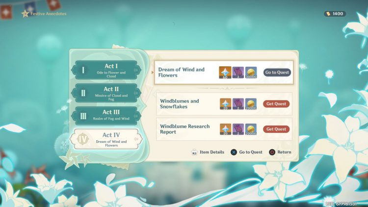 Image showing How to Start the Dream of Wind and Flowers Side Quest in Genshin Impact.