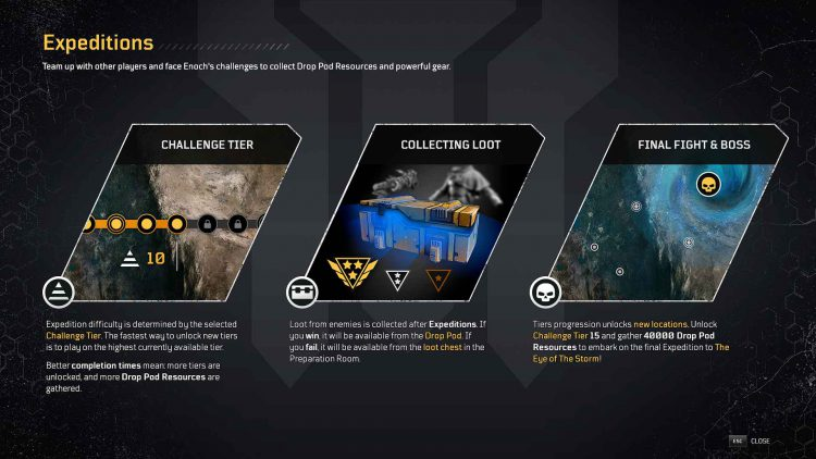 Image showing in-game information about Expeditions in Outriders.