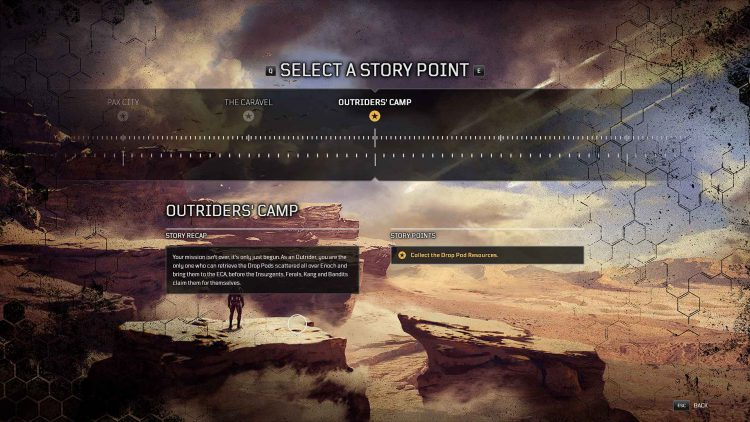 Image showing the Story Points in Outriders.