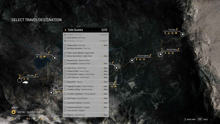 Image showing the list of Side Quests in Outriders.