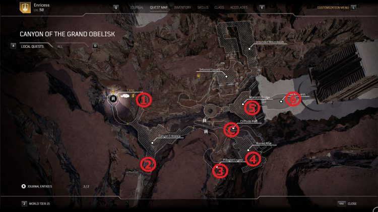Image showing the Secret Pillars Canyon of the Grand Obelisk Locations Map.