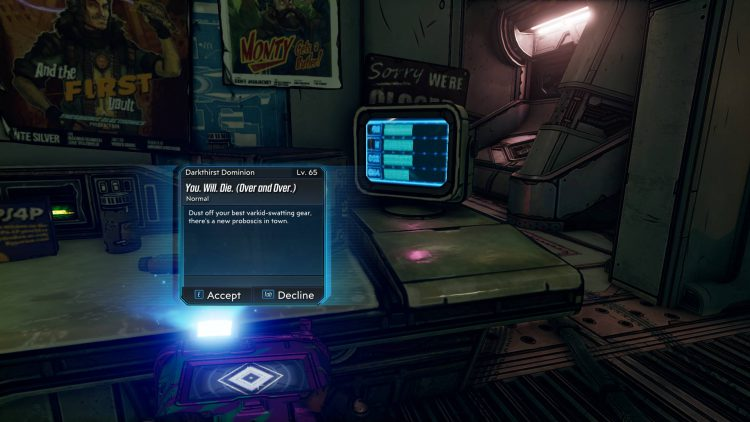 Image showing the Accept You. Will. Die. (Over and Over) Mission information screen.