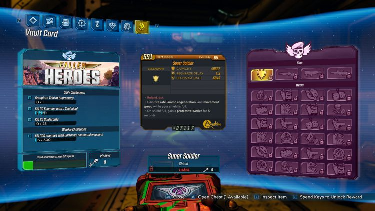 Image showing the Vault Card screen in Borderlands 3.
