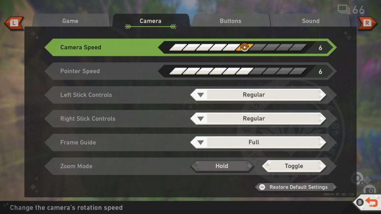 Image showing how to change the research camera settings in New Pokemon Snap.