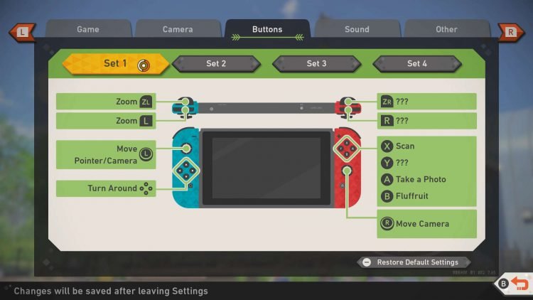 Image showing the standard Research Camera Controls in New Pokemon Snap.