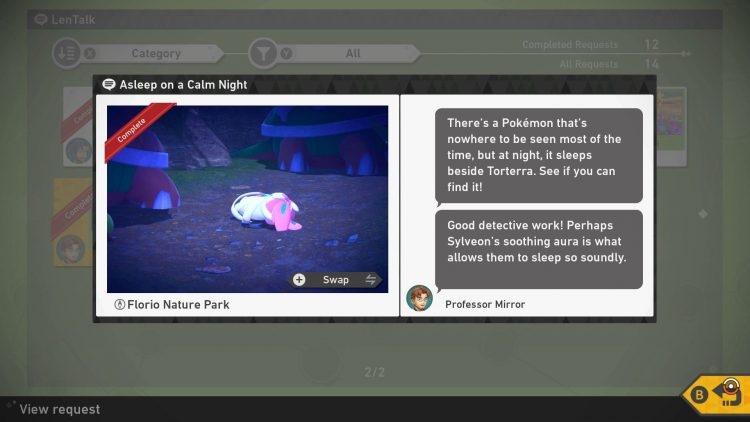 Image showing a LenTalk request in New Pokemon Snap.