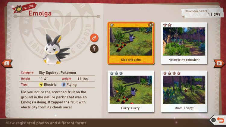 Image showing a completed Photodex entry in New Pokemon Snap.