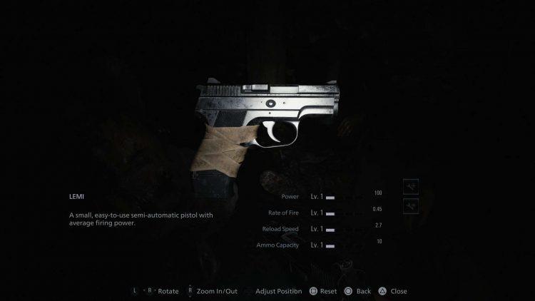 Image showing the handgun in Resident Evil Village.