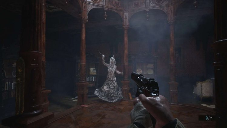 Image showing the Dimitrescu Daughter Fight 2 Castle Library in Resident Evil Village.