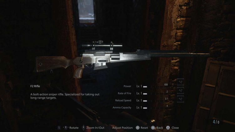 Image showing the F2 Rifle in Resident Evil 8.