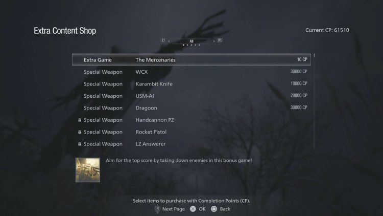 Image showing the Extra Content Shop in Resident Evil 8.