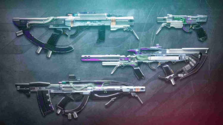 Image showing some of the reward weapons from Season of the Splicer.