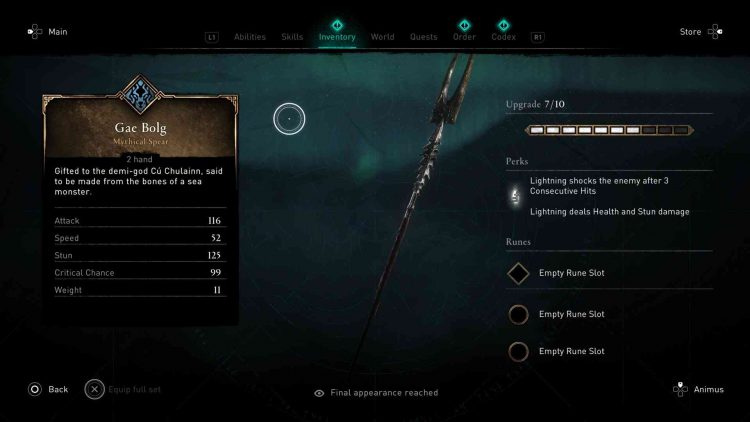Image showing the Gae Balog spear in AC Valhalla.
