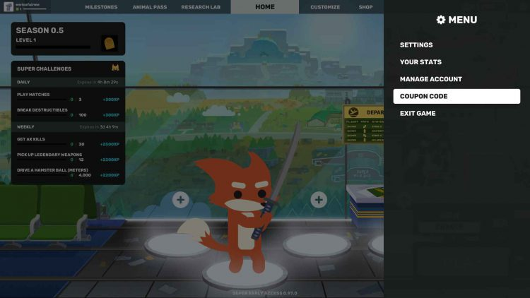 Image showing How to Redeem Coupon Codes in Super Animal Royale menu.