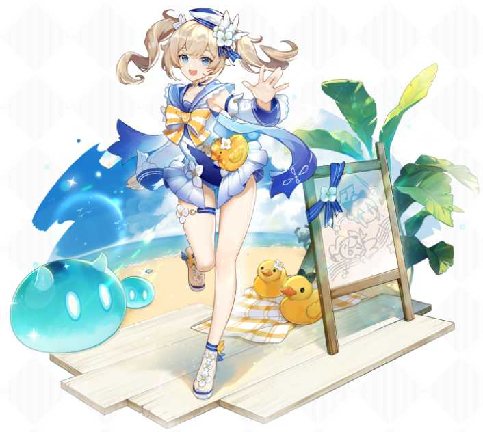 Image showing Barbara's Summertime Sparkle outfit in Genshin Impact.