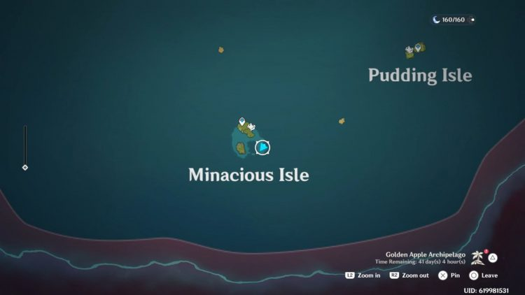 Image showing the map location of the Minacious Isle Underwater Totems Chest.