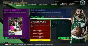 The weekly challenge screen in NBA 2K21.