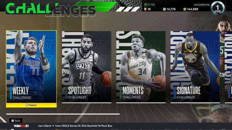 Image showing the nba 2K21 challenges screen in-game.