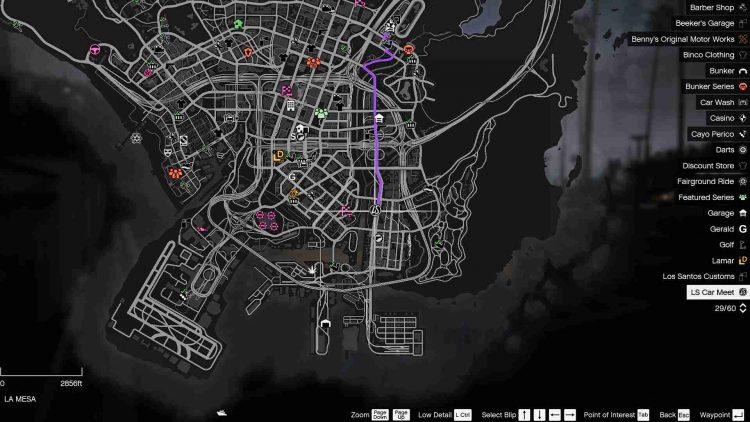 GTA Online LS Car Meet map location.