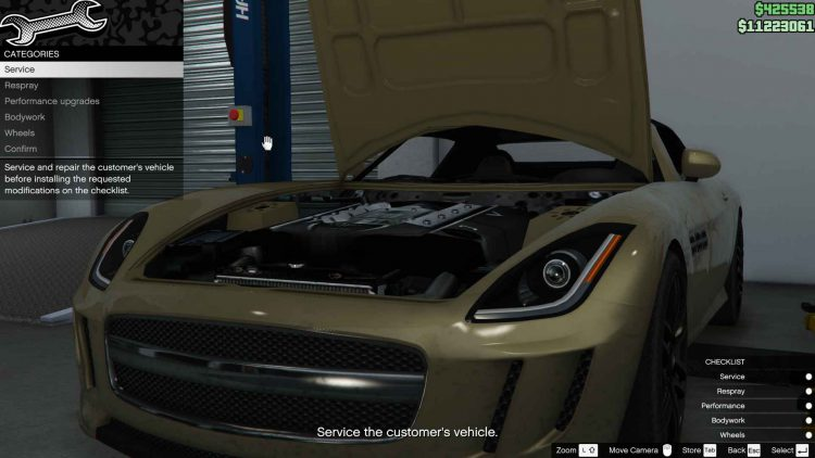 Image showing customization of car in GTA Online Auto Shop mission.