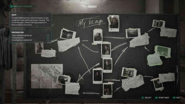 Image showing the Heist board in Chernobylite.