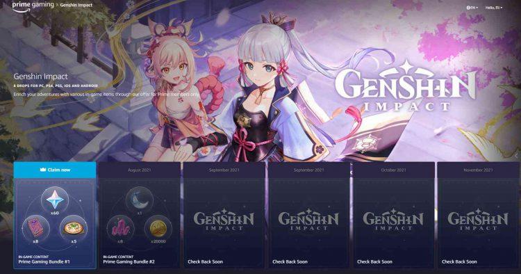 Image showing the Genshin Impact Prime Gaming screen.