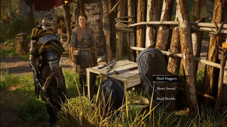 Image showing the weapon selection screen for the tournament in Assassin's Creed Valhalla.