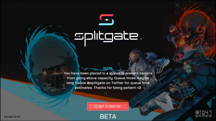 Image showing the Splitgate queue screen.