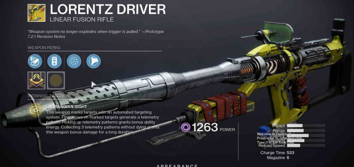 Featured image on Destiny 2 Lorentz Driver exotic weapon post.