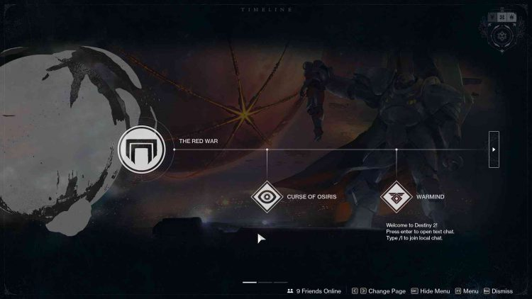 Image showing the Destiny 2 Timeline in-game.