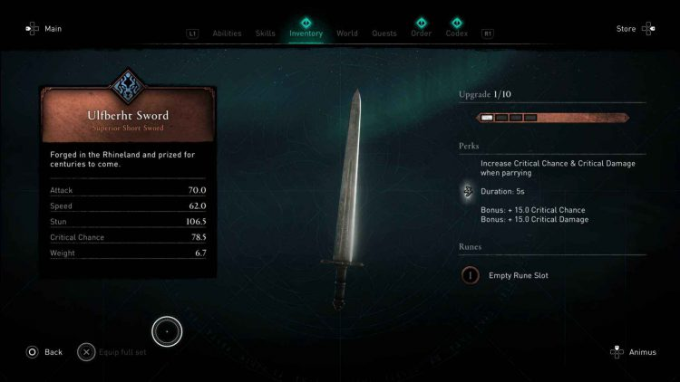 Image showing the Ulfberht Sword in AC Valhalla.