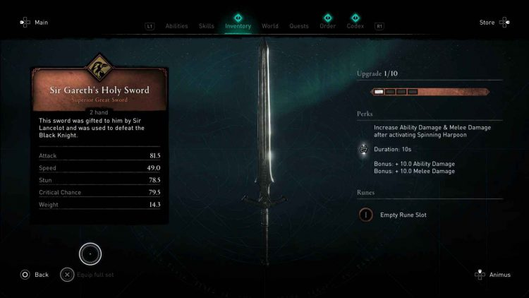 Image showing Sir Gareth's Holy Sword in AC Valhalla.