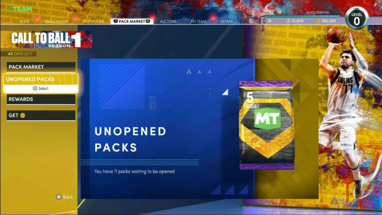Image showing where to find your unopened packs in NBA 2K22.