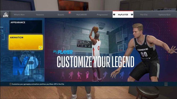 Image showing how to change your MyPLAYER animations in NBA 2K22.
