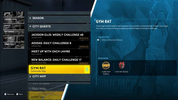 Image showing the Gym Rat quest in NBA 2K22.